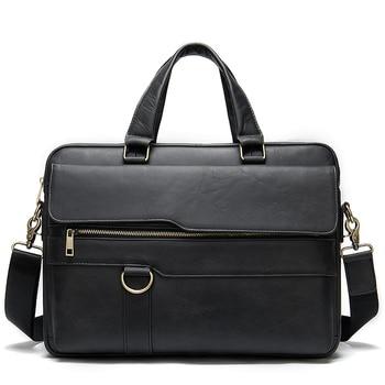 Genuine Leather Laptop Bag Business Men's Briefcase Retro Shoulder Portable high-capacity 15-inch Computer Bag Laptop Briefcase