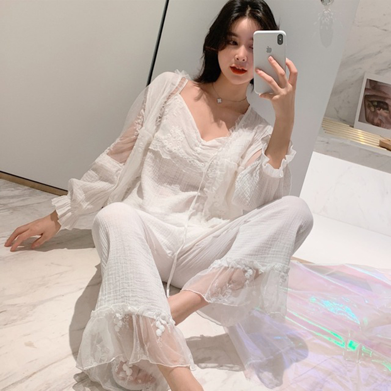 100% cotton pajamas women court style grils nightgown set lace princess sleepwear set straps pajamas Comfortable home service