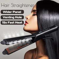 Modelador de cabelo varinha alisador de cabelo estilo alisamento flat iron 2 em 1 estilo do cabelo ouro titânio pro cerâmica milho rolo magia