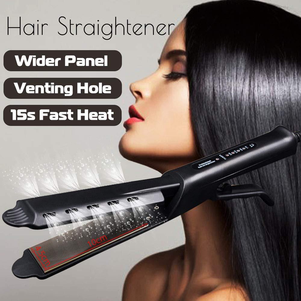 Rizador de pelo varita alisador de pelo estilo alisado plancha plana 2 en 1 estilo de pelo oro titanio Pro cerámica maíz rodillo mágico|Planchas de pelo|   - AliExpress