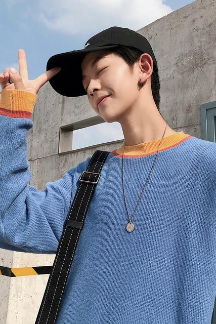 남자 스웨터 가을/겨울 2019 새로운 슬림하고 점토 색 스웨터 느슨한 둥근 목 캐주얼 성격 젊은 남성 의류