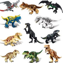 11pcs 28cm Indominus Rex DIY Blocks Single Sale Dinosaurs Tyrannosaurus Rex Tiny Models & Building Blocks Toys For Children pogo harley quinn figure single sale xinh 257 building blocks dc batman superhero models kids toys for children