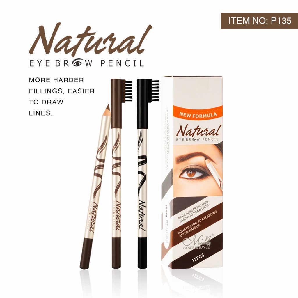 Trwałe pióro do brwi profesjonalny brwi ołówek z pędzelkiem wodoodporne 2 w 1 ołówek do brwi makijaż narzędzia kosmetyczne