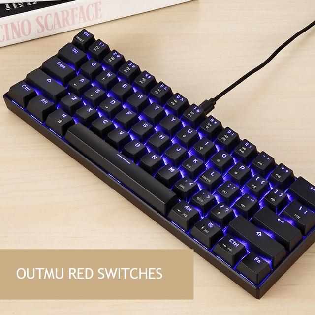 موتوسبيد CK61 لوحة المفاتيح الميكانيكية RGB الخلفية الأزرق/الأسود مفاتيح 61 مفتاح الألعاب لوحة المفاتيح 2ms سرعة الاستجابة جميع مفاتيح مكافحة شبح