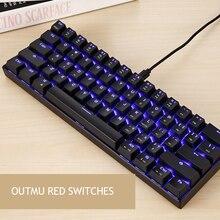 MOTOSPEED Teclado mecánico CK61 retroiluminación RGB, interruptores azul/negro, teclado para juegos de 61 teclas, velocidad de respuesta de 2ms, todas las teclas Anti fantasma