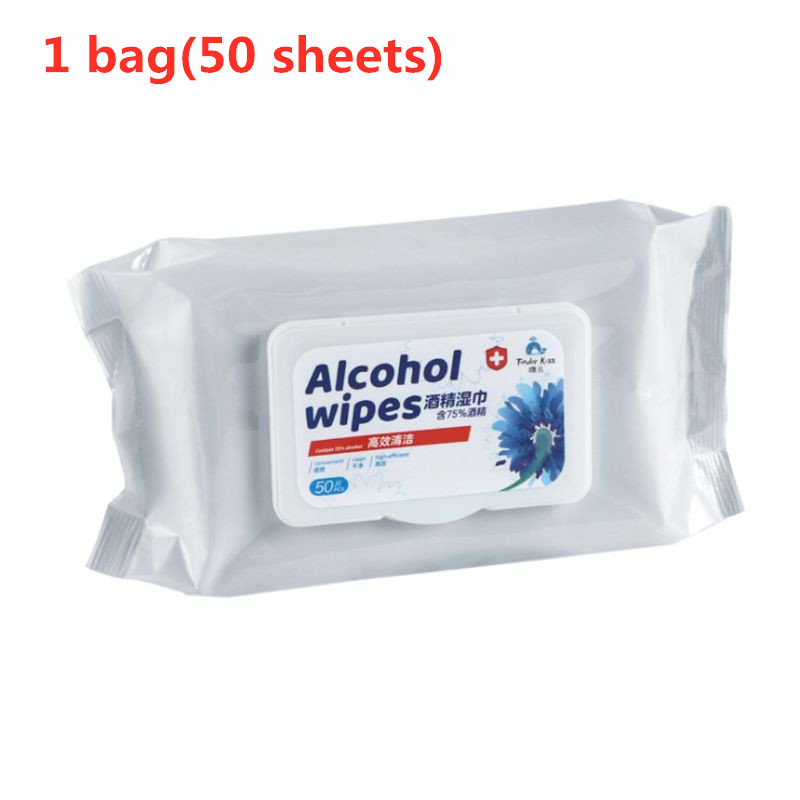 50 Sheets Disposable Flip Top 75% Alcohol Wipes Hand Skin Toys Effective Sanitizing Pads Sterilization Antibacterial Disinfectin