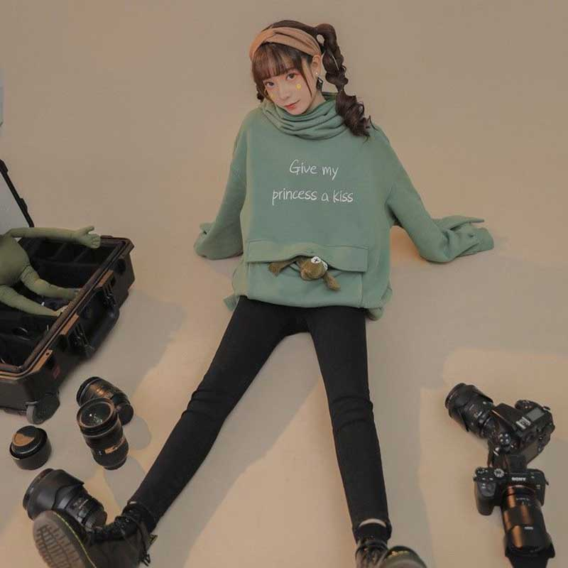 NiceMix Women Autumn Thick Loose Sweatshirt Harajuku Letters Printed Lovely Frog Casual Hooded Hoodies Pullover Female Thicken C 3