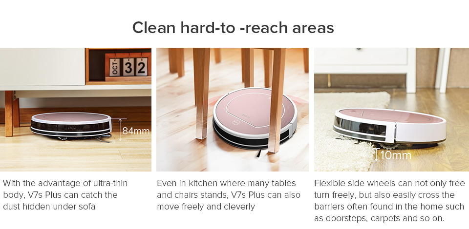 Hd1f93774745d4c17a0c44fdb38475a9co ILIFE V7s Plus Robot Vacuum Cleaner Sweep and Wet Mopping Disinfection For Hard Floors&Carpet Run 120mins Automatically Charge