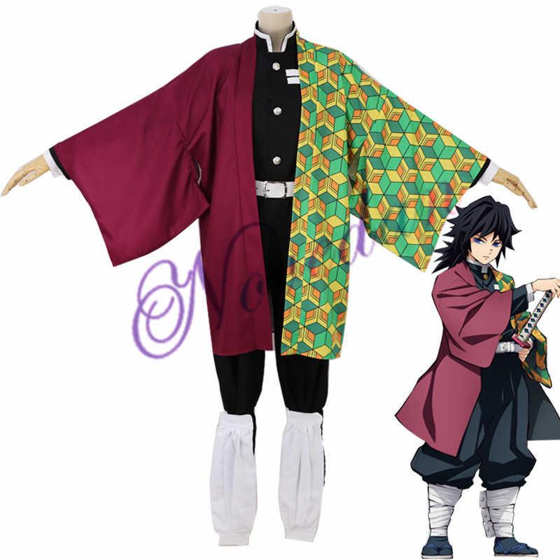 Kimetsu Tidak Yaiba Kamado Tanjirou Agatsuma-gun Zenitsu Tomioka Giyuu Kamado Nezuko Kimono Anime Demon Slayer Seragam Kostum Cosplay