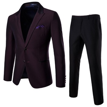 2 Pcs set Men's Business Casual Suits Fashion  Groom Groomsmen Wedding Suits+Trousers for Male Autumn Winter M-5XL