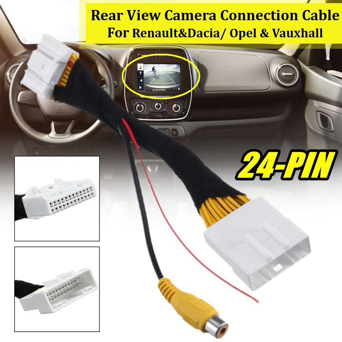 24 Pin Adapter Rear View Camera Connection Cable For Renault&Dacia For Opel For Vauxhall For Clio 4 2012-up For Dokker 2012-up