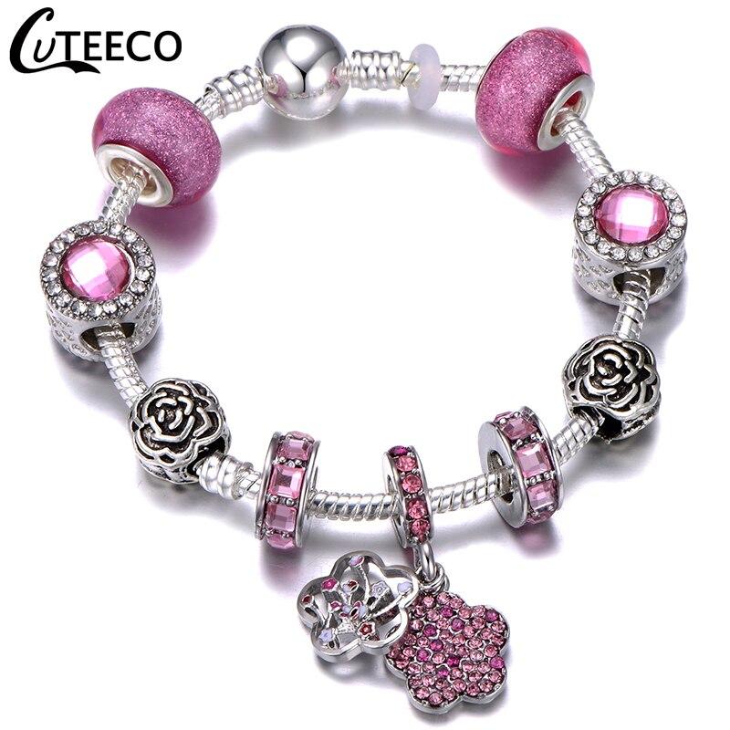 CUTEECO 925, модный серебряный браслет с шармами, браслет для женщин, Хрустальный цветок, сказочный шарик, подходит для брендовых браслетов, ювелирные изделия, браслеты - Окраска металла: AJ3193