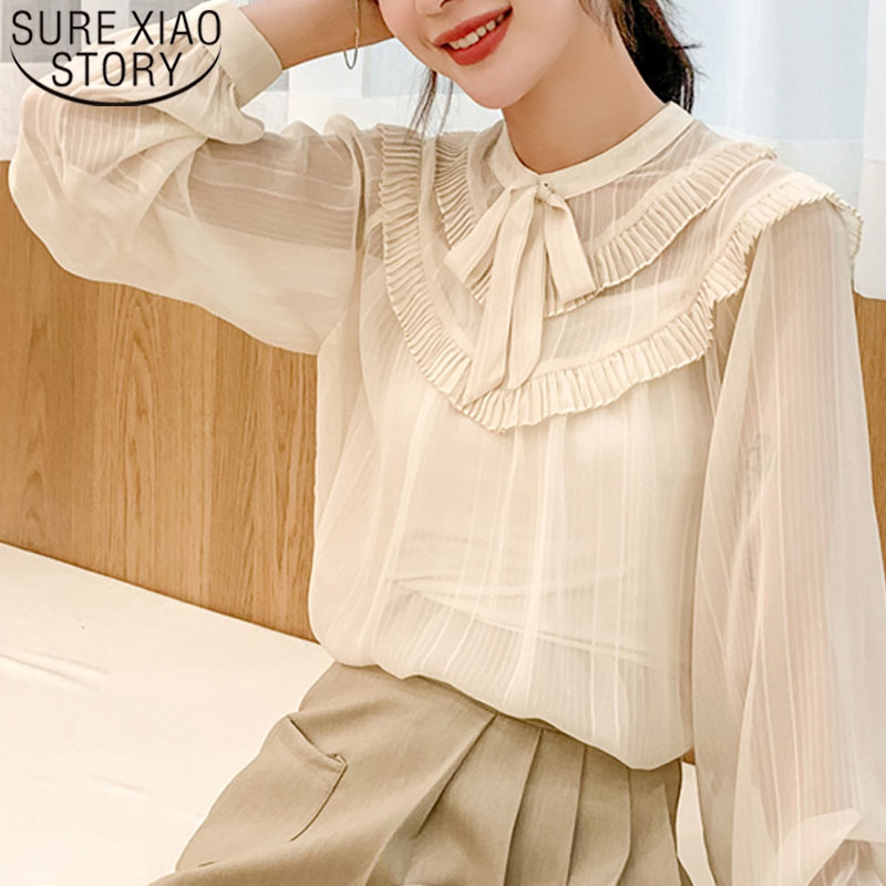 2019 Fashion Women Blouses Long Sleeve Elegant Casual Women Tops And Blouses Bow Chiffon Solid Beige Ladies Tops  5323 50