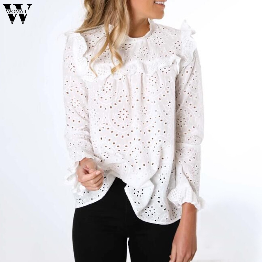 Womail Blouse Women Autumn Long Sleeve Hollow Elegant Office Work Shirt White Cute Blouse Casual Femme Blusas Mujer Holiday 926