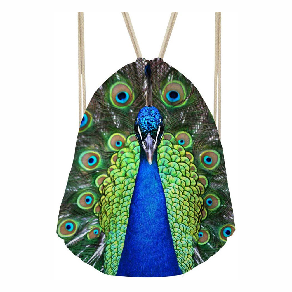 Drawstring Bag Backpack Cute Peacock Animal 3D Print Travel Bag Teenager Backpacks Fashion Storage Bags Custom Logo Service