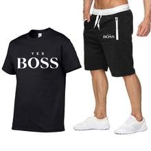 Yes Boss-camiseta y pantalones cortos de playa para hombre, conjunto divertido, chándal de verano, pantalones para correr, camiseta, ropa de calle, camisetas de baloncesto, 2021