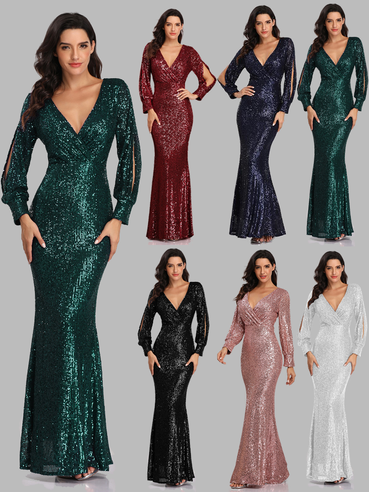 Party-Gown Occassion-Dress Mermaid Vestidos Long-Sleeve Formal Sexy Full-Sequins New