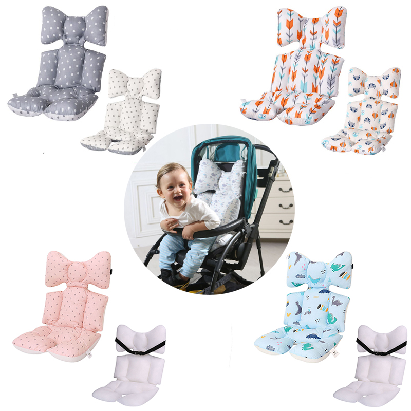 2 Sides Baby Printed Stroller Pad Seat Warm Cushion Pad Mattresses Pillow Cover Child Carriage Cart Pad Trolley Chair Cushion