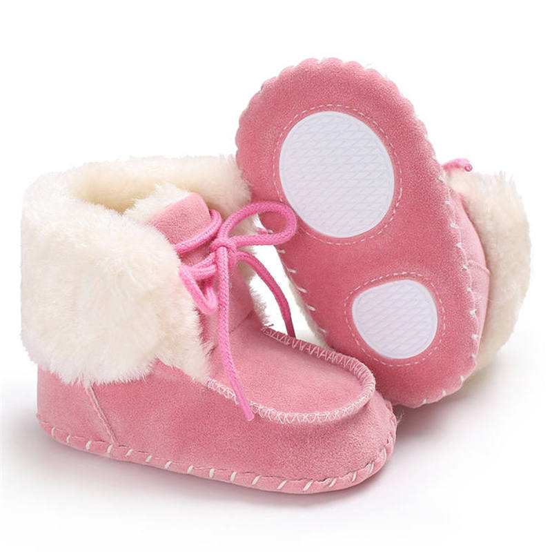 Baby Shoes Toddler Warm Fluff Lace-up Anti-slip Soft Sole 0-2 Years Boy Girl Outdoor Baby Boots First Walkers Infant Shoes