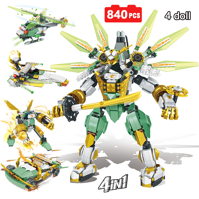 4IN1 Lloyd Titan Mech Ninjagoed Compatible with inglys Ninjagoed Educational Building Blocks Bricks Boys Children Toys GiftsBlocks   -