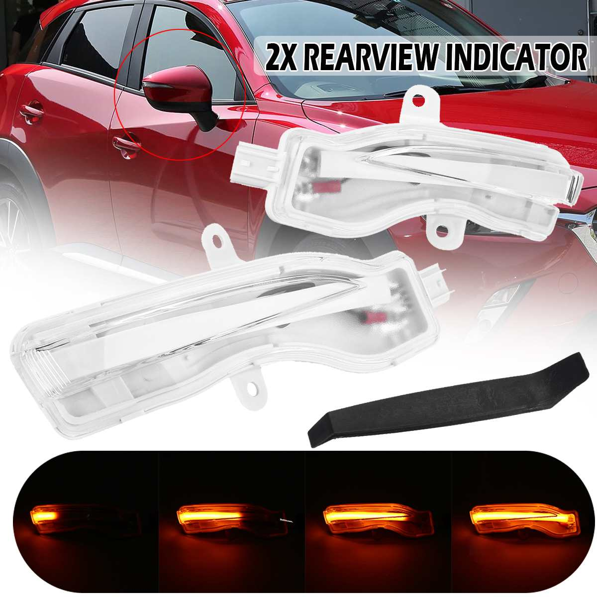 Pair Sequential turn signals flowing Car <font><b>Led</b></font> Rearview Mirror Turn Signal Light Dynamic Blinker car indicator for <font><b>Mazda</b></font> <font><b>CX</b></font>-3 <font><b>CX</b></font>-<font><b>5</b></font> image