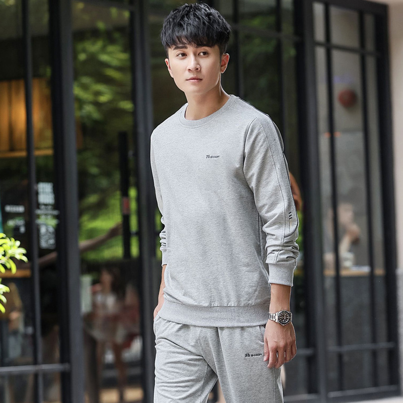 Leisure Sports Suit Men's Spring And Autumn 2019 New Style Morning Run Step Hoodie Running Sports Clothing Men Two Piece Set Win