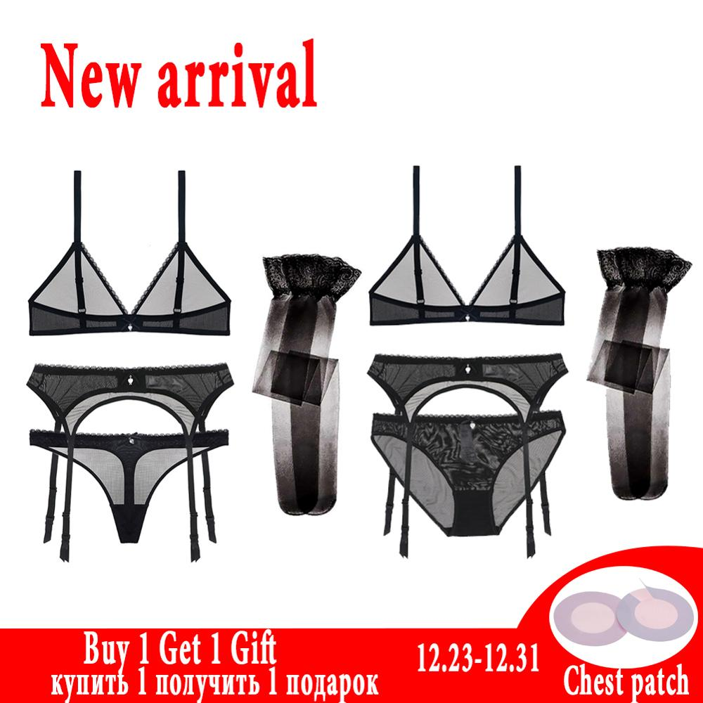 See-Through Lace Sexy Bra Set Transparent And Thong Sheer Black White Bras Set And Garter And Stockings  For Women