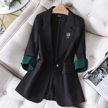 New Fashion Blazer Coat Female Single-button Korean  Long Sleeve Solid Casual Elegant Professional Office Ladies Fashion Coat 1