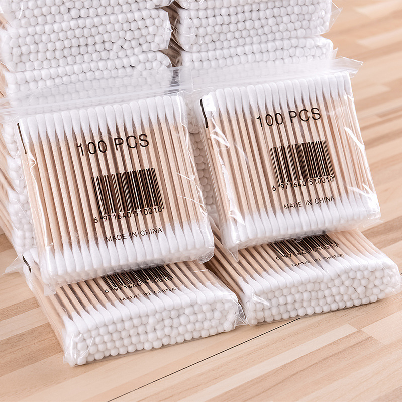 1000 Household Cotton Swab Double Headed Stick Ears Pointed-Toe Sterile Makeup Stick Cotton Disposable