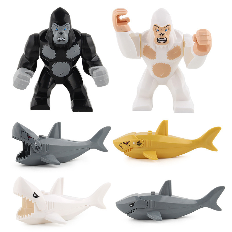 Building Blocks Animal Assemble Model Brinquedos Bricks Crocodile Shark Gorilla Tiger Mini Blocks Educational Kids Toys For Boys