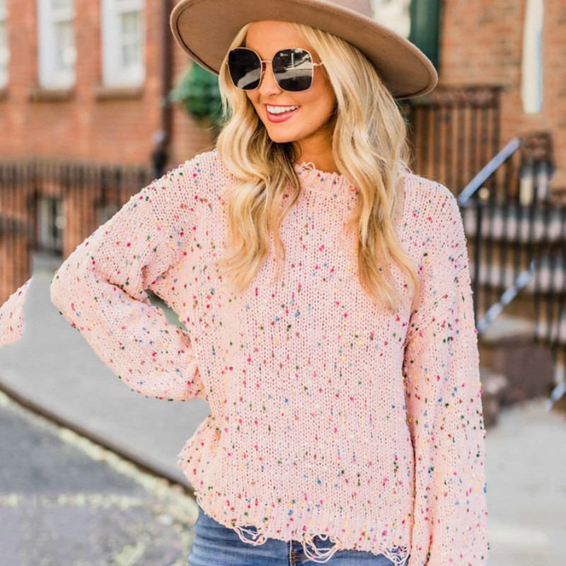 Sweater Sub-colored Dot Sweater Autumn And Winter Cross-border Round Neck Plus Size Women's Clothing Sweater Women  O-Neck