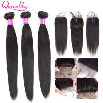 Queenlike peruwiańskie pasma włosów z zamknięciem nie Remy wątek 100 ludzkich włosów 3 4 wiązki pasma prostych włosów z zamknięciem tanie i dobre opinie Proste = 10 CN (pochodzenie) Nie remy włosy NONE Wyprostował 3 sztuk wątek i 1 pc zamknięcia Peruwiański włosów