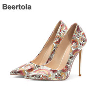 Women High Heels Floral Print Shoes 6 12Cm Pointed Toe Party Shoes Woman Fashion Ladies Shoes With Heels New Spring Autumn Pumps