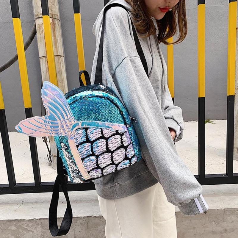 2-Милый мультфильм блёстки рюкзак рыбий хвост Женская сумка Kawaii девушки школьный ранец на молнии путешествия большой емкости сумки на плечо ... смотреть на Алиэкспресс Иркутск в рублях