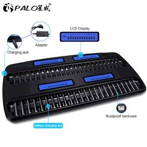 Умное зарядное устройство PALO для aa/aaa с ЖК-дисплеем, 48 слотов, быстрое зарядное устройство для перезаряжаемой батареи nimh aa AAA