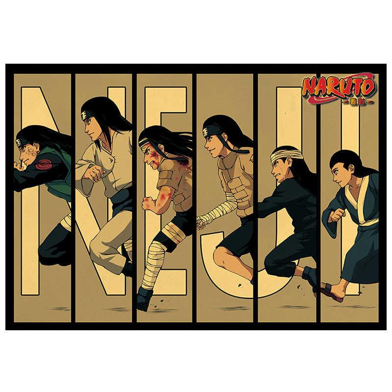 Klassische Naruto Figur Sasuke Schmerzen Neji Malerei Anime Poster Vintage Decoracion Wand Kunst Kraft Papier Poster Wand Aufkleber
