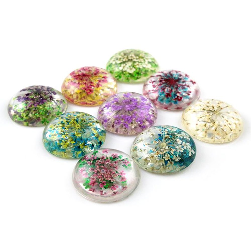 New Fashion 5pcs 25mm Mixed Natural Dried Flowers Flat Back Resin Cabochons Cameo