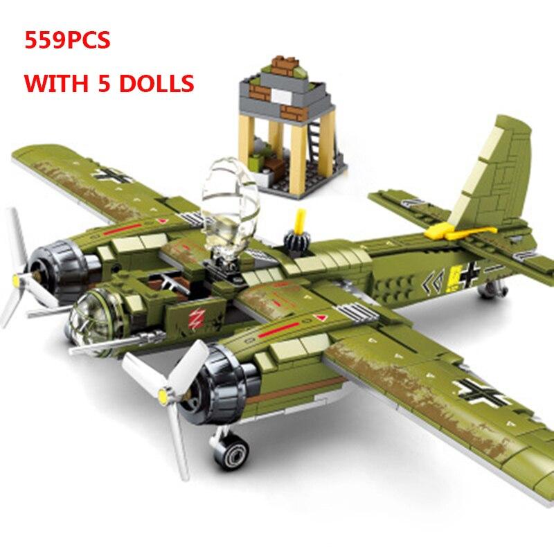 559PCS Military Ju-88 Bombing Plane Building Blocks WW2 Helicopter Compatible DIY Model Set Bricks Gift Toys For Children