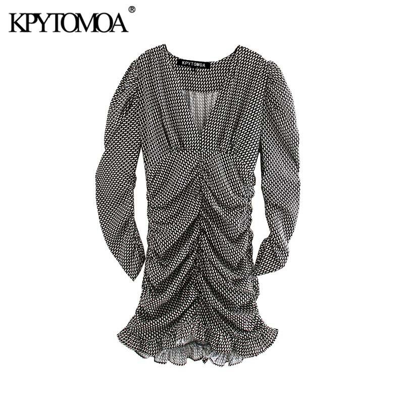 Vintage Stylish Geometric Print Pleated Mini Dress Women 2020 Fashion V Neck Long Sleeve Female Dresses Chic Vestidos Mujer