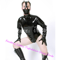 Sexy Black Latex Men's Swimsuits with Mask&Gloves Latex Males' Bodysuit Halloween Cosplay Sexy Costume zentai exotic apparel