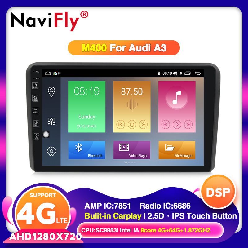 IPS bildschirm 4G 64G Android 10 Auto DVD Player Für <font><b>Audi</b></font> <font><b>A3</b></font> <font><b>8P</b></font> 2003-2012 S3 2006-2012 RS3 Sportback 2011 Mit GPS <font><b>navigation</b></font> DSP BT image