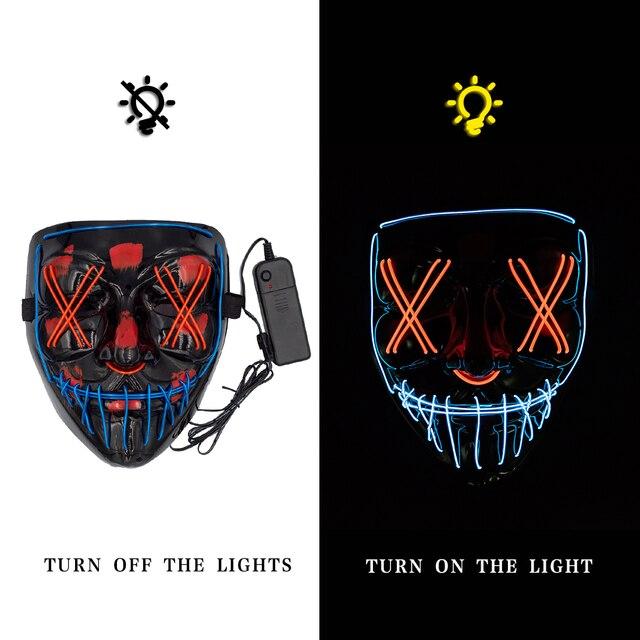 Halloween Mask LED Maske Light Up Party Masks Neon Maska Cosplay Mascara Horror Mascarillas Glow In Dark Masque V for Vendetta 2