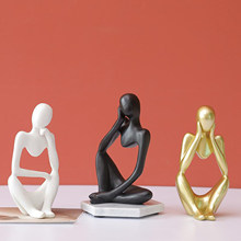 Abstract Thinker Sculpture Creative Resin Figurine Characters Thinking People Crafts Ornaments Sandstone Statues Home Decor