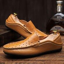 Кожаные туфли без шнуровки с перфорацией размера плюс 47; Мужские