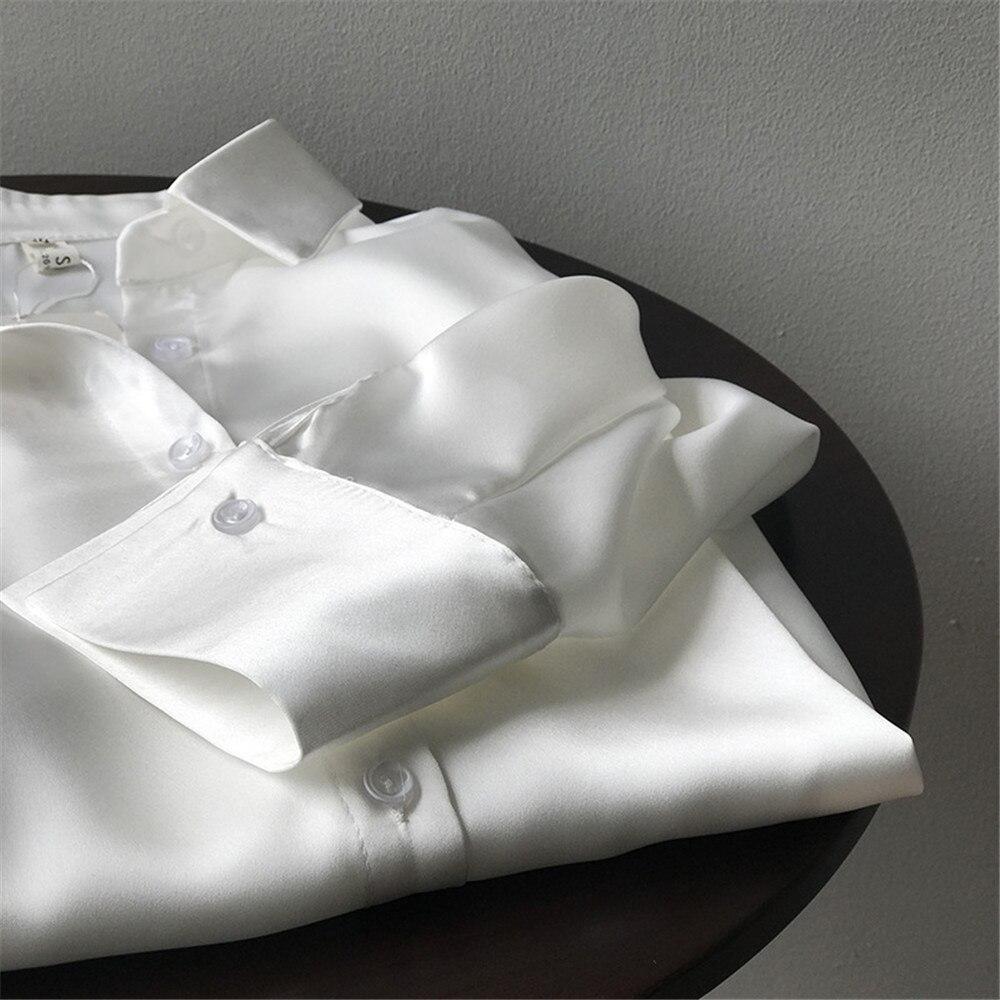 High quality Women Silk Satin Blouse 2020 Summer Women Satin Blouses Shirt Office Long Sleeves Femme V Neck Loose Street Shirts (78)