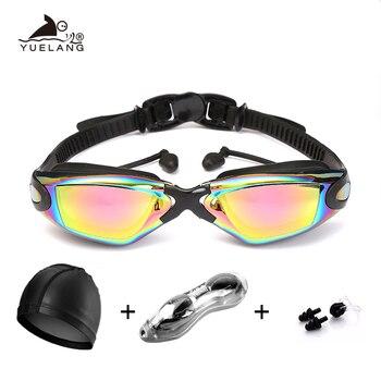 Gafas de natación juego profesional de silicona Durable tapón para oídos de buceo Anti-niebla Anti-UV impermeable adulto arena gafas de natación