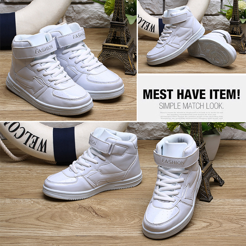 Image 3 - Classic Solid White Children Sport Shoes For Kids Boys Girls High Cut Fashion Non Slip Sneakers Baby Boys Girls Shoes Size 31 38-in Sneakers from Mother & Kids