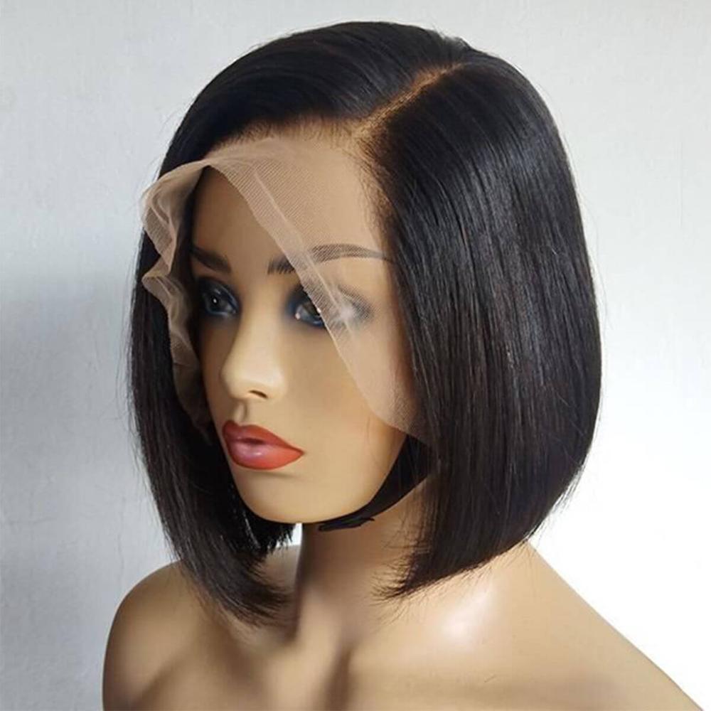 Shinelady peruano cabelo humano em linha reta laço parte perucas 10 Polegada perucas curtas 1b # cor reta remy peruca de cabelo humano para preto
