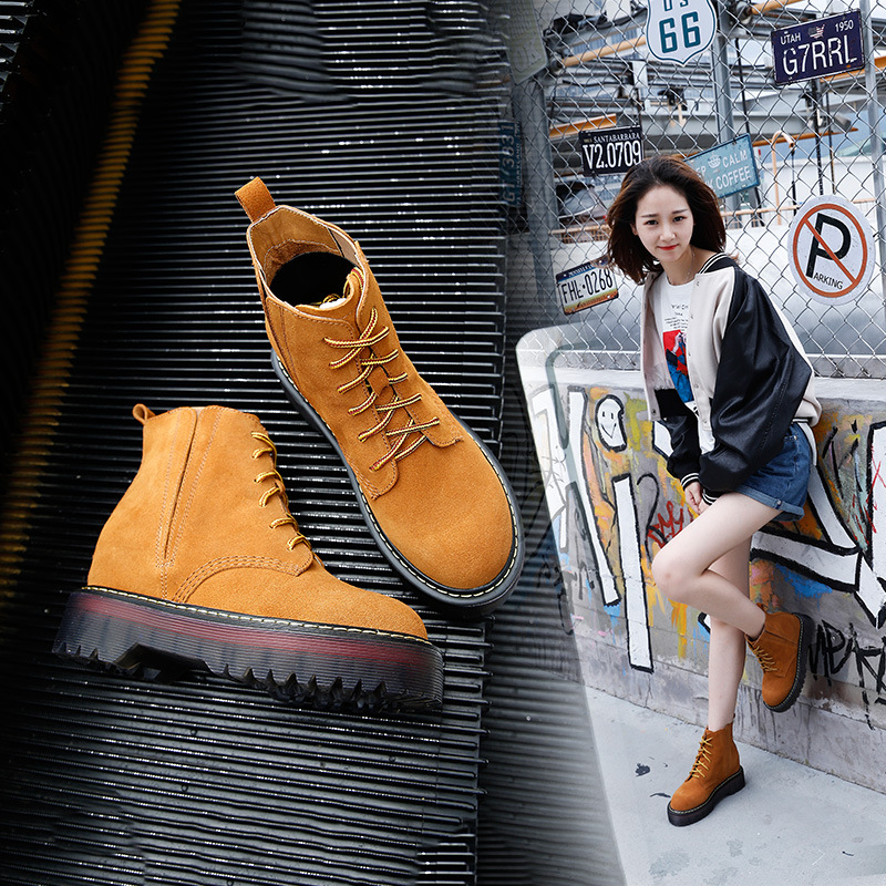 Autumn Winter New Style Increased Martin Boots Female Tie Leather Thick Bottom Shoes British College 35 40 Nubuck Leather in Ankle Boots from Shoes