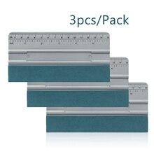 EHDIS 3pcs Carbon Fiber Vinyl Car Film Wrap Squeegee Scale Suede Felt No Scratch Measure Scraper Window Tint Water Wiper Tools